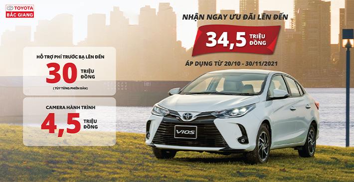 Nhân đôi ưu đãi khi mua xe Toyota Vios từ 20/10 - 30/11/2021 tại Toyota Bắc Giang